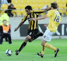 Phoenix's Paul Ifill takes shot at goal against the Central Coast Mariners in the A-League football match. Credit: NZPA / Ross Setford.