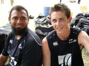 Former Pakistani spinner Saqlain Mushtag, left and Maurice Holmes are helping New Zealand's batsmen prepare for Sri Lankan slow bowlers. Pic: NZPA