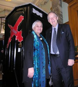 Associate Health Minister Tariana Turia, left, and Crohn's and Colitis NZ chairman Brian Poole next to an art-a-loo at the launch of Crohn's and Colitis NZ. Credit: NZPA