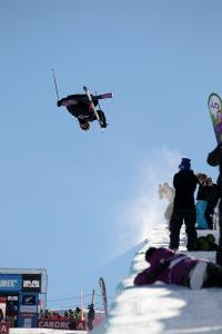 Torin Yater-Wallace gaining big air in Cardrona's superpipe.