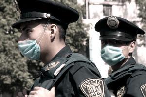 Police take precautions in Mexico.
